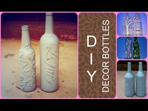DIY - Decor bottles (glue gun decorating)  #gluegun #bottles #diy #decor