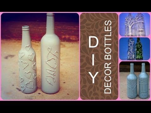 DIY - Decor bottles (glue gun decorating)  #gluegun #bottles #diy #decor