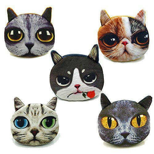 New Trending Make Up Bags: 5PCS Womens Wild Cat Series Cute Printing Pattern Animal Mini Handbag Face Wallet Bag Zipper Case Coin Purse Pouch. 5PCS Women's Wild Cat Series Cute Printing Pattern Animal Mini Handbag Face Wallet Bag Zipper Case Coin Purse Pouch   Special Offer: $8.99      244 Reviews Package includes: 5 PC Plush Soft cat pattern printed Round Coin Purse Emoji Chain Wallet Gift Color: black Size: 4.5 inch ...