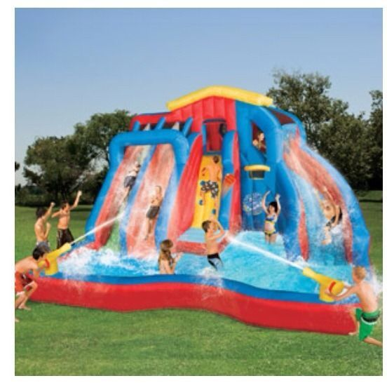 inflatable water slide park airblown bouncy house banzai waterslides pool play - Water Slide Bounce House