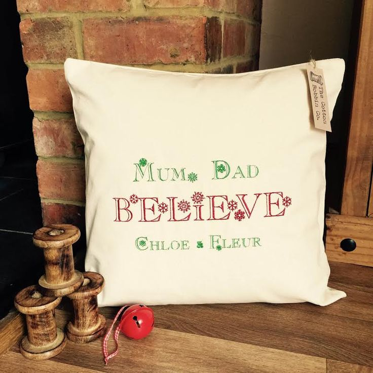 Personalised Embroidered 100% Cotton Christmas Cushion Cover and Pad Family Christmas Cushion Cover BELIEVE Xmas Cushion Cover