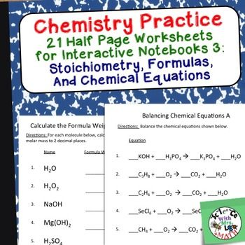 Chemistry Worksheets 3 for Interactive Notebooks: Stoichiometry