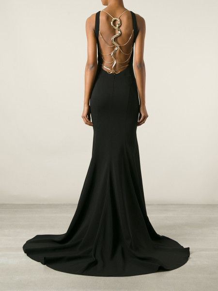 Slytherin Dress Roberto Cavalli Snake Strap Back Gown in Black