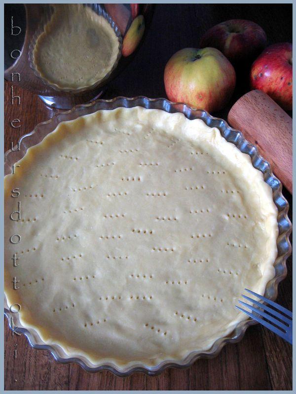 Pâte brisée«KitchenAid» -200g farine, 1/4cc sel, 2CS sucre glace (pâte brisée sucrée), 100g beurre froid, 1oeuf battu,1cc jus de citron, 1à2CS d'eau glacée. Utiliser batteur plat, mettez farine, sel, sucre. Coupez le beurre en dés, ajoutez. Mélangez VIT 2, mélange ressemble à la chapelure.Ajoutez œuf, citron, eau, pétrir,pâte homogène.Retournez la pâte sur surface farinée, pétrissez brièvement. Formez une boule, enveloppez d'un film alimentaire, mettez au frais au moins 30'.