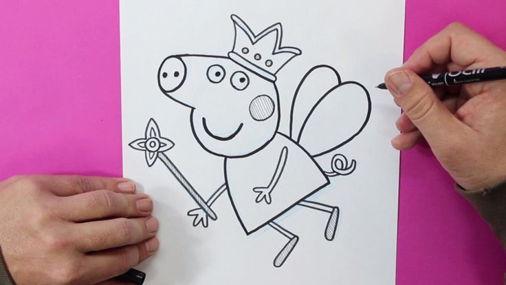 Cómo dibujar a Peppa Pig vestida de Hada - How to draw Peppa Pig Fairy