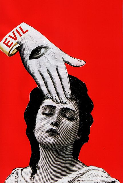 EVIL, Fontanelle 89 ( collage / mixed / media / red / hand / eye )