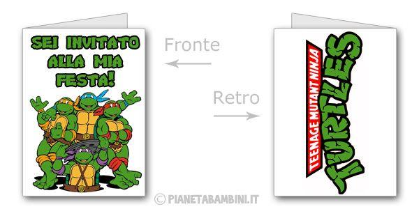 Biglietti delle Tartarughe Ninja da stampare gratis n.2