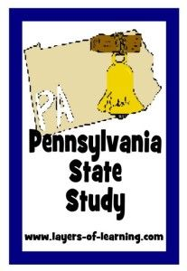 Pennsylvania State Study from Layers of Learning.  Printable map and information about Pennsylvania for kids.  Great activity ideas too.