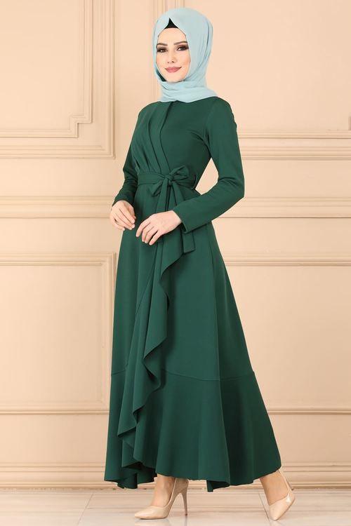 Modaselvim ELBİSE Pile Detay Kemerli Elbise 4041-5EF311 Zümrüt