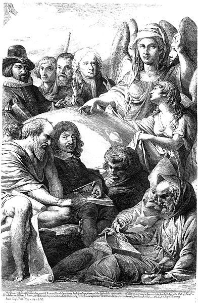 1795.An archangel revealing the physical nature of the universe to a group of natural philosophers and mathematicians.Etching by James Barry,1795,after his painting.Francis Bacon; Nicolaus Copernicus; Galileo Galilei; Isaac Newton; Thales; René Descartes; Archimedes; Robert Grosseteste; Roger Bacon; James Barry.