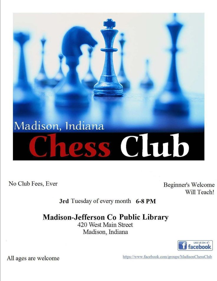Chess Club meets the third Tuesday of each month at Madison. This month the club will meet on 4/15/14.