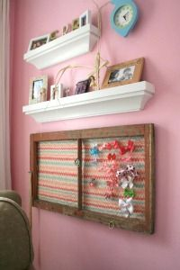 Old Window Accessory Holder. DIY See how chicken wire and an old window frame can be used as a hair bow and accessory holder.  I love the creativity of this and the clever reuse of the window frame.