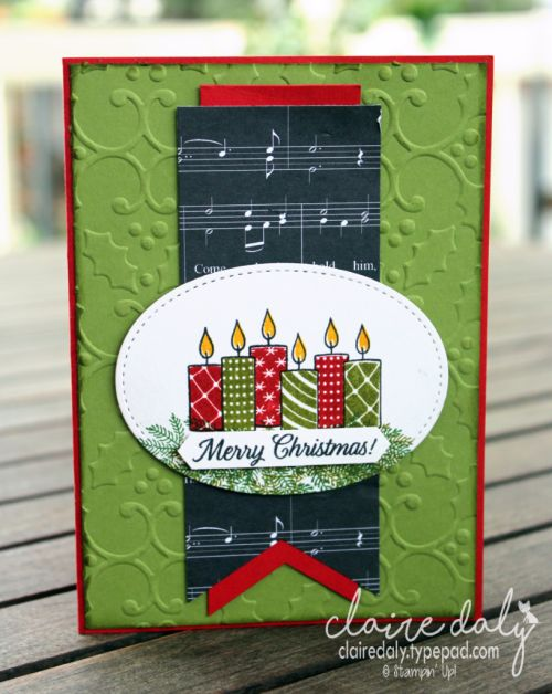 Stampin Up Merry Patterns Christmas 2017 card by Claire Daly Stampin Up Demonstrator Melbourne Australia