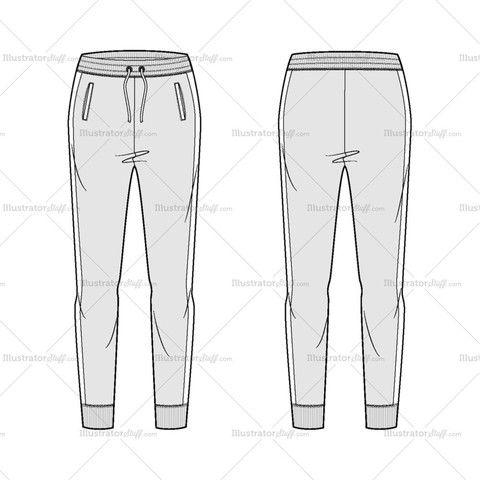 Women's The Slim jogger Fashion Flat Template