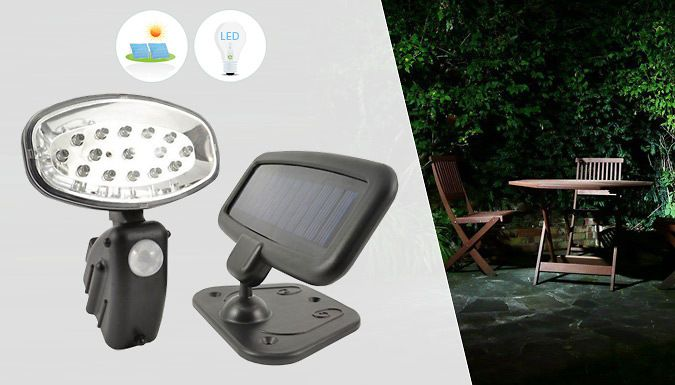 Buy 15-LED Solar-Powered Motion-Sensor Security Light UK deal for just: £9.99 Let there be light with a15-LED Solar-Powered Motion-Sensor Security Light      Simple and easy to install            PIR detection: 2-6.5 metres                  Will light for 25 seconds once motion is detected                  Has a 15 white bright LED's 9000mcd 0.6W polycrystalline solar panel                 ...
