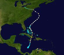 Category 1 hurricane. Early on October 26, Sandy moved through the Bahamas.[9] On October 27, Sandy briefly weakened to a tropical storm and then restrengthened to a Category 1 hurricane.