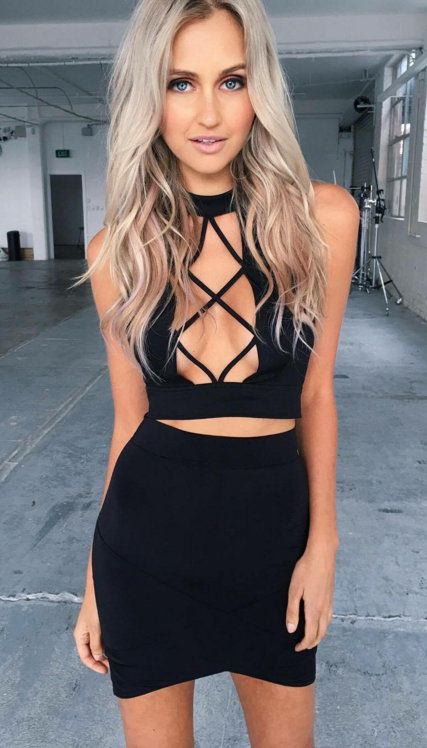 @roressclothes closet ideas #women fashion outfit #clothing style apparel black crop top skirt