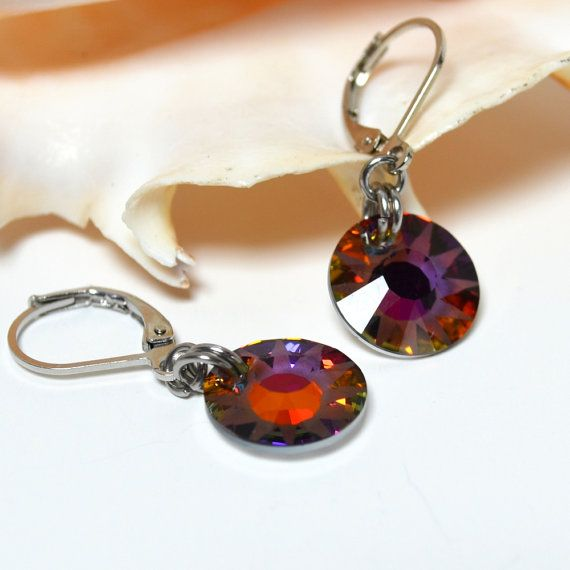 Volcano Crystal Earrings, Dangle Earings, Swarovski Crystal, Gift for Her, Silver Lever Back, Everyday Earrings,  Le French Gem Original
