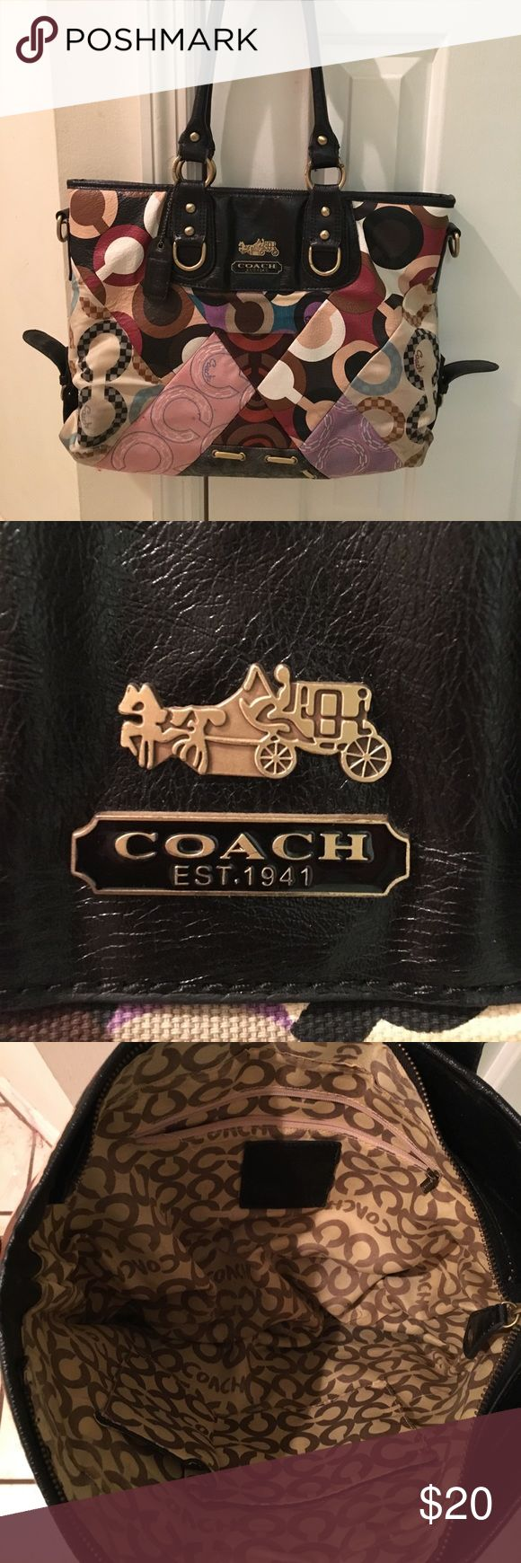 Coach Purse Patchwork style coach purse. Used condition. The handle straps are worn. Small spot on pink patch area. Inside very nice and clean. Coach Bags Totes