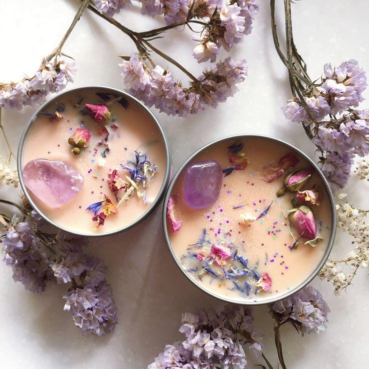 HONEYSUCKLE BREW soy candle from UNICORNMANOR.COM available in 2 sizes #MysticUnicornCandles #unicornmanor