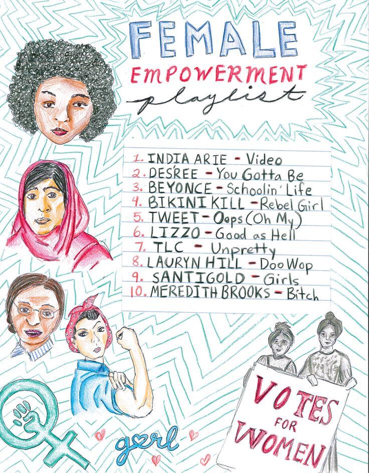 ◄ ▲ ► Female Empowerment Playlist  ► ▼   ►  ◄ ▲ In honor of Women's History Month ▲ ►   1. India Arie – Video 2. Des'ree – You Gotta Be 3. Beyonce – Schoolin' Life 4. Bikini Kill – Rebel Girl 5. Tweet – Oops (Oh My) 6. Lizzo – Good as Hell 7. TLC – Unpretty 8. Lauryn Hill – Doo Wop 9. Santigold – Girls 10. Meredith Brooks – Bitch