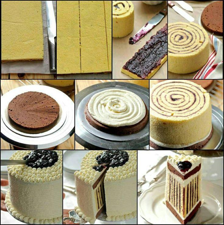 een gestreepte taart maken