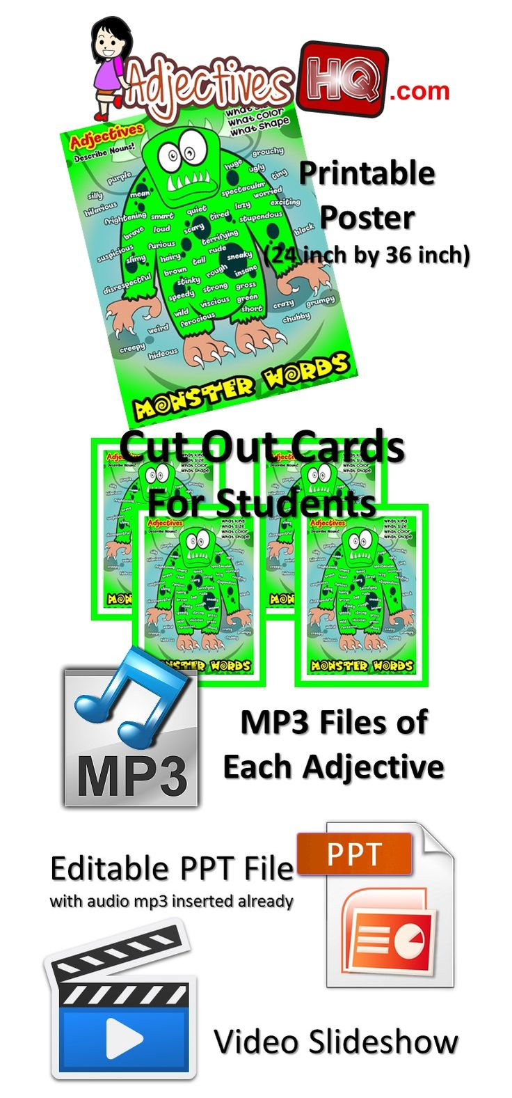 Monster Words Adjective Poster https://www.teacherspayteachers.com/Product/Monster-Words-Adjective-Poster-1959078  #adjectives