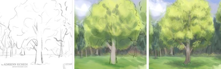 How to paint a tree - mini tutorial - Art of Adrienn Ecsedi This is how I paint trees nowdays. 1. sketch 2. basic colors 3. detail work. Read more here: http://adriennecsedi.com/how-to-paint-a-tree-mini-tutorial/