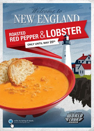 Cafe Zupas Roasted Red Pepper and Lobster Bisque (this recipe doesn't include the lobster--perfect!)