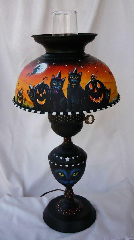 79 best painted lampslampshades images on pinterest vintage ooak original hp halloween witch black cat bat cauldron vintage metal lamp aloadofball Images