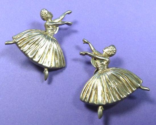 A pair of Frederick Massingham silver ballet dancer clip earrings - hallmarked Birmingham 1948.  Photographed by Gillian Horsup.  #SilverBalletDancerClipEarringsMassingham