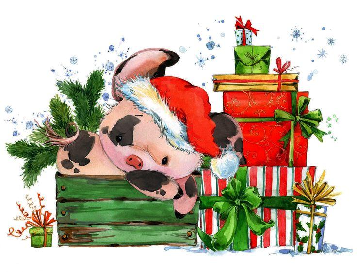 рождественская открытка год свиньи организациях