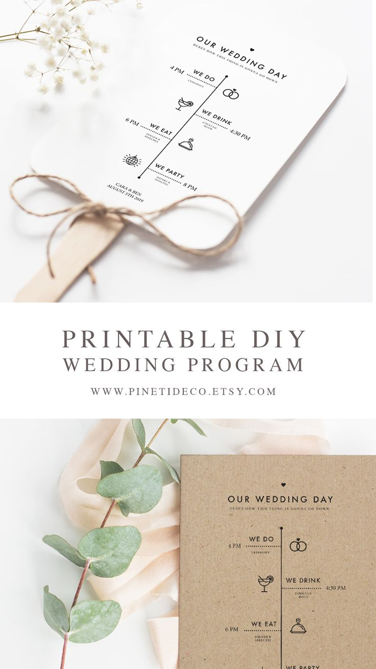 DIY Printable Wedding Program - Download, Edit and Print! Use the template to create a Fan, perfect for an outdoor summer wedding.