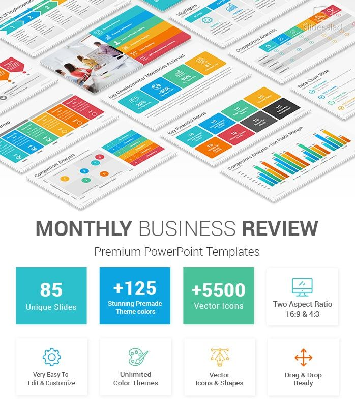 Monthly Business Review Powerpoint Template Powerpoint Design