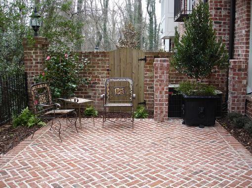 herringbone brick patioa nice idea between the house and the garage - Brick Patio Ideas