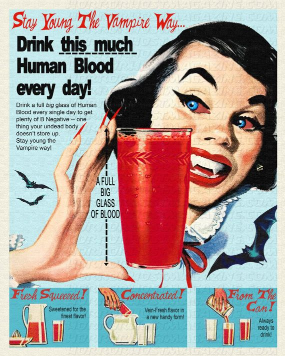 1950s Vintage Florida Orange Juice Advertisement illustration....version 3   Stay Young the Vampire Way 8x10 Print by HorrorHostMagazine, $13.13