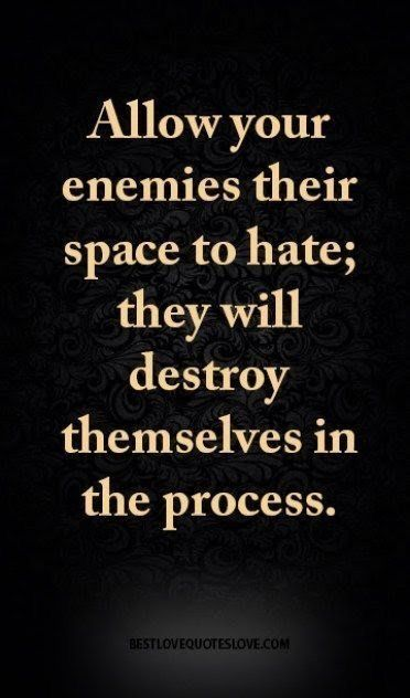 I wouldn't say I have enemies but I do have those that think they can manipulate the situation to fit their needs and story.