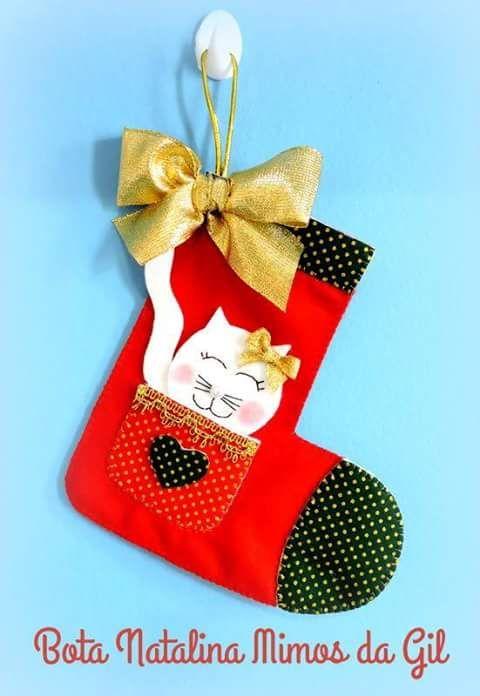 Feltro Fácil: Bota de Natal em Feltro; Stocking Felt Christmas