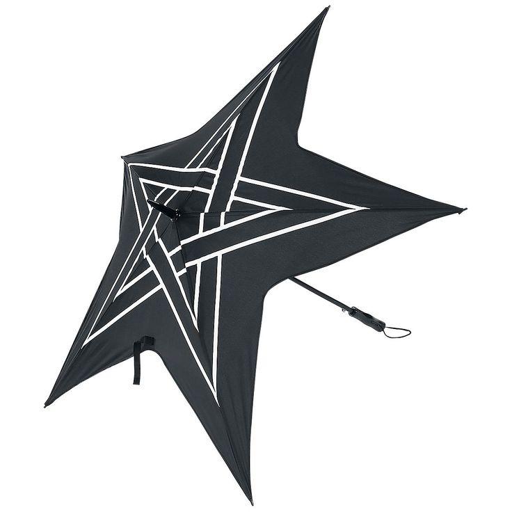 Dáždnik v tvare pentagramu  - materiál: polyester - kovová tyčka dĺžka: 90cm, priemer: 130 cm (otvorený)