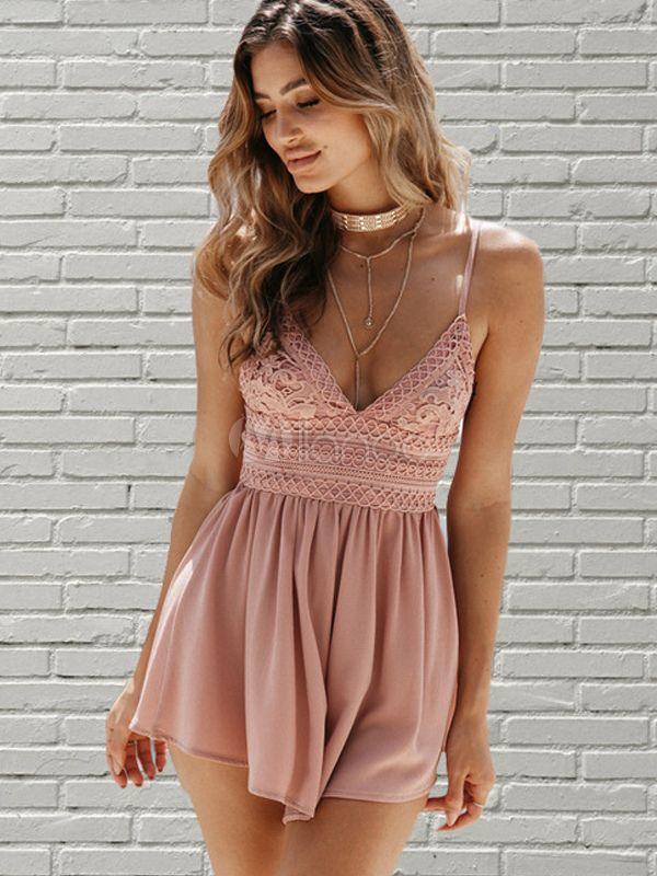 114b4732e051 Women Boho Romper Lace Backless Spaghetti Straps Pink Summer Playsuit   Lace