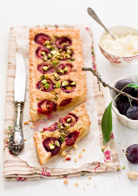 Seriously lovely, inviting Plum and Pistachio Tart. #plum #tart #fruit #pistachio #food #baking #cooking #summer #beautiful