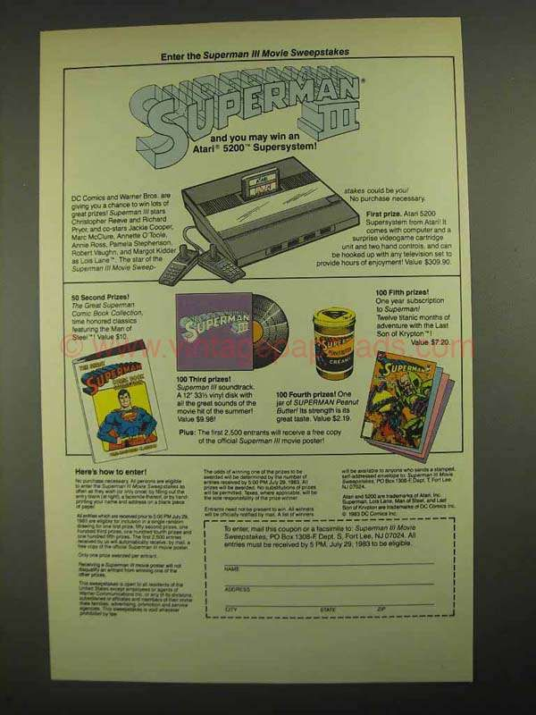 1983 Superman III Movie Ad - Atari 5200 Supersystem