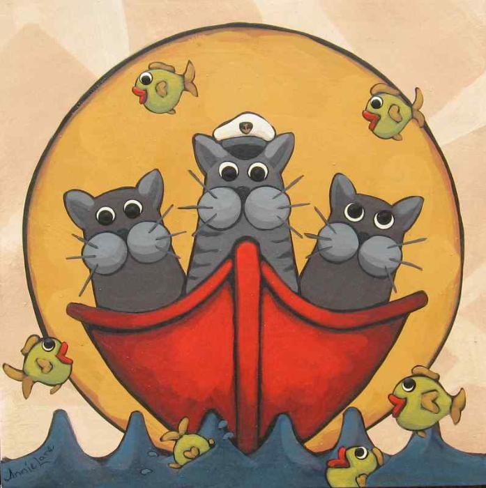 """""""CATS IN THE DINGHY"""" Whimsical Art Cats in Boat Painting by Annie Lane Folk Art"""