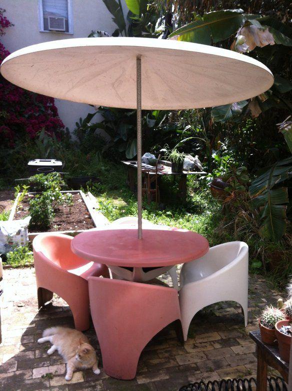 Rare Mid Century Fiberglass Patio Set W Umbrella