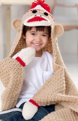 Sock Monkey Blanket Free Crochet Pattern from Red Heart Yarns: