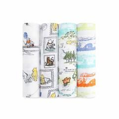 aden + anais Muslin Swaddles Winnie The Pooh - 4 Pack