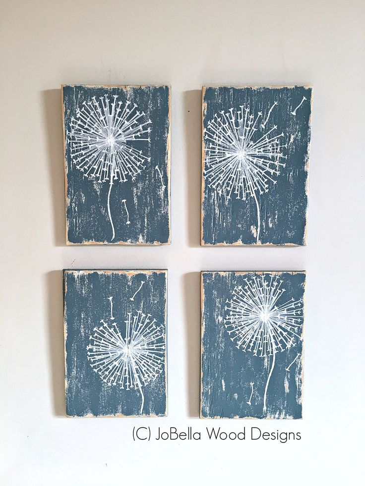"""Dandelion Set of 4 (Sky Blue and White) Shabby Chic Wood Paintings - Also Fits Rustic, Reclaimed Wood, Pallet, and Farmhouse Decor - Each Painting Measures 6.5"""" by 9.5"""". This set of 4 dandelion paintings has a dreamy, distressed sky blue and white background. The dandelions are hand painted in white. Each painting measures 6.5"""" by 9.5"""" and has a saw tooth hanger. Hang vertically, horizontally or in a grouping as pictured. Most of my canvasses are hand made from floor boards that I…"""