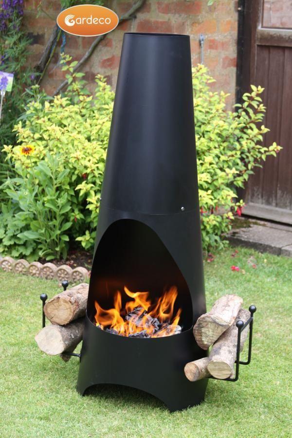 Gardeco Oslo Steel Chiminea In Black Heartwarming Fires Contemporary Garden Backyard Fire Chiminea