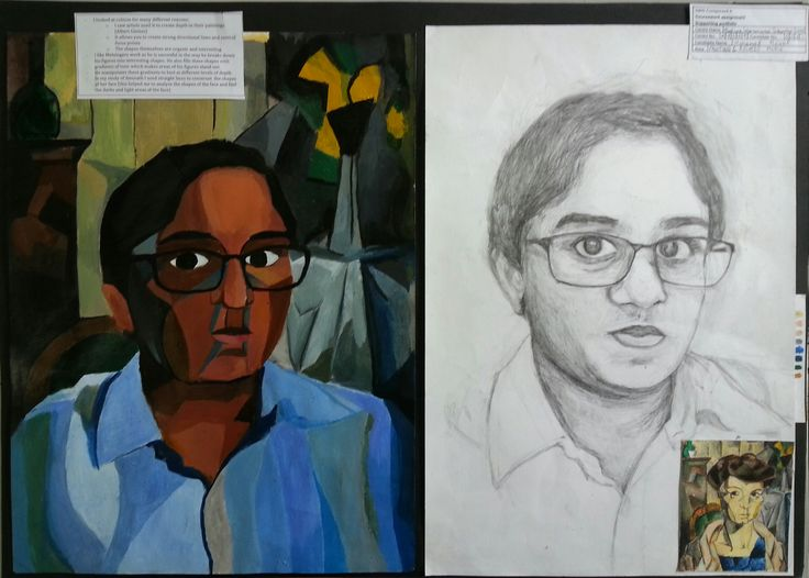 Inspired by the work of Jean Metzinger, Anoof did a study from his portrait of his wife. Then drawing from his friend in Art class he drew a realistic portrait in pencil and used this study to create a cubist study. He combined the figure of his friend with the background from Metzingers work.