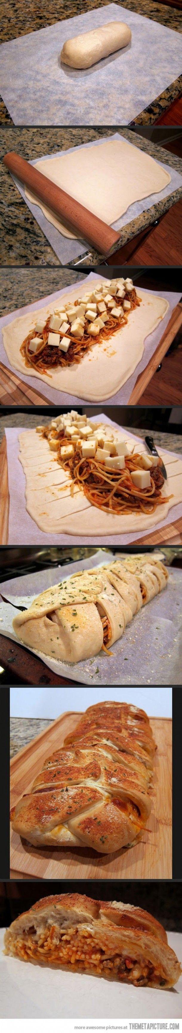 Gevlochten spaghetti brood